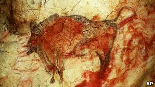 Dibujo de un bisonte en la cueva de Altamira
