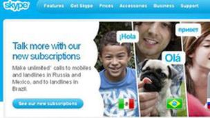 Una página de Skype