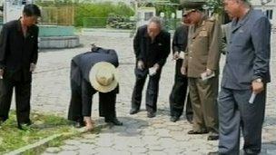 Truyền hình Triều Tiên chiếu hình ảnh Kim Jong-un cúi xuống nhổ cỏ
