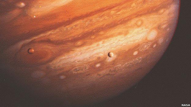 Júpiter y sus lunas, imagen captada por Voyager