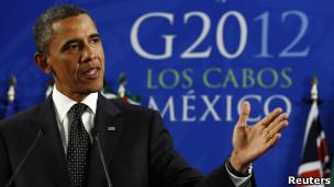 奧巴馬在G20峰會的記者招待會上作總結。
