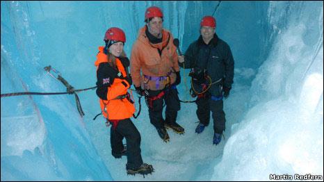 Martin Redfern interviewing scientists in Antarctica