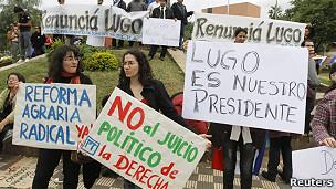 Partidarios del presidente de Paraguay, Fernando Lugo.