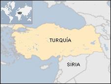 Mapa de Turquía y Siria