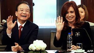 Wen Jiabao y Cristina Fernández