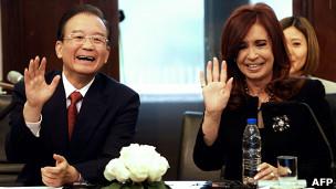 Wen Jiabao e Cristina Kirchner. AFP