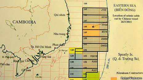Bản đồ mô tả vùng Trung Quốc gọi thầu trên Biển Đông