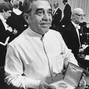 馬爾克斯於1982年10月諾貝爾文學獎頒獎典禮