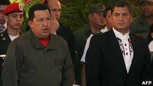 Rafael Correa y Hugo Chávez