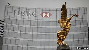 Sede del banco HSBC en México, con el Ángel de la Independencia