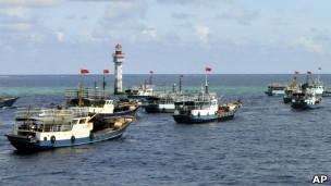 南中国海上的船只