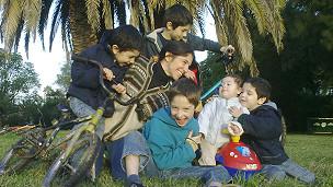 Maria Ferreyra y sus hijos
