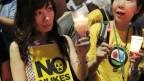 Aksi menentang PLTN di Tokyo.