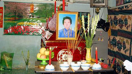 Linh cữu và di ảnh bà Đặng Thi Kim Liêng