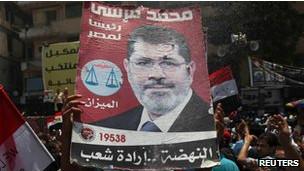 Una manifestación en Egipto con carteles del presidente Mursi