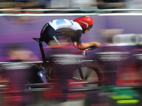 Great Britain's Bradley Wiggins races in the Men's Individual Road Cycling Time Trial