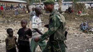 Mwanajeshi wa serikali ya DRC nje ya Goma