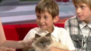 O jovem Lorcan Dillon, com a gata Jessi-Cat, e o irmão, Luke (BBC)