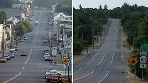 Imágenes de Centralia en los años 70 y en la actualidad. Imagen de la izquierda cortesía de David DeKok