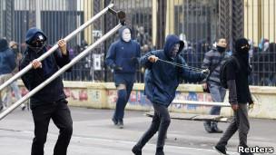Protesta estudiantil en Santiago de Chile, agosto de 2012