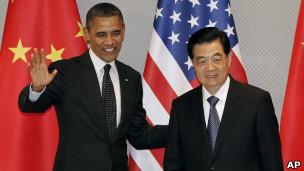 El presidente de Estados Unidos, Barack Obama, con el presidente de China, Hu Jintao