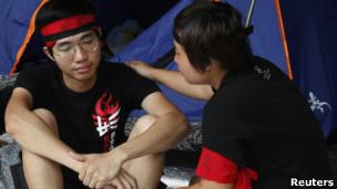 香港反国民教育科示威者