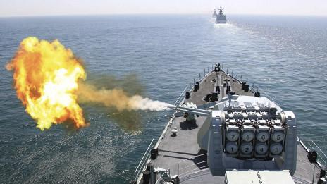 Khu trục hạm DDG-112 Cáp Nhĩ Tân của Hải quân TQ ở Hoàng Hải