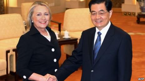 Hồ Cẩm Đào tiếp Hillary Clinton tại Đại lễ đường nhân dân ở Bắc Kinh
