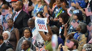 Eleitores de Barack Obama na Convenção Nacional Democrata (Foto: AFP/Getty Images)