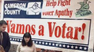 Pancarta para estimular la votación