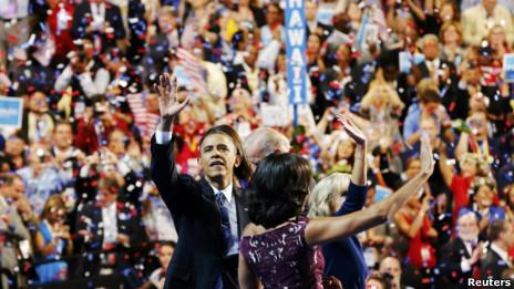 Tổng thống Barack Obama và vợ tại đại hội Đảng Dân chủ
