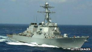 美军阿利·伯克号驱逐舰在地中海东部航行(资料图片)