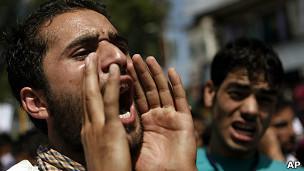 Musulmán cachemir protesta en India