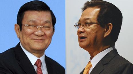 Hai ông Trương Tấn Sang (trái) và Nguyễn Tấn Dũng