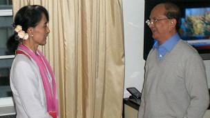 緬甸總統吳登盛與昂山素季在紐約會面