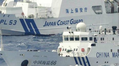 中日船舰在钓鱼岛水域