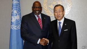 Mobido Diarra y Ban Ki-moon