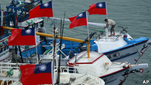 数十艘台湾渔船曾在9月前往钓鱼岛海域维护渔权主权