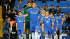 """Chelsea""""s John Terry (C) walks out onto the pitch during their English League Cup football match against Wolverhampton Wander""""s at Stamford Bridge, West London in England, on 25 September, 2012"""