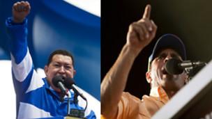Simpatizantes de Hugo Chávez y Henrique Capriles