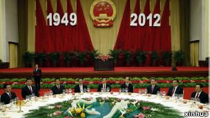 中共政治局九名常委出席國慶招待會