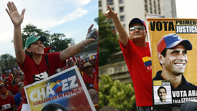 Simpatizantes de Chávez y Capriles