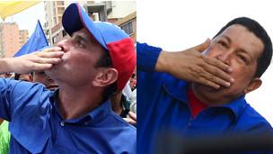 Henrique Capriles y Hugo Chávez