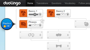 Fragmento de pantalla de Duolingo