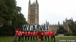 Protesto por mais empregos para jovens em Londres (Foto Getty Image)