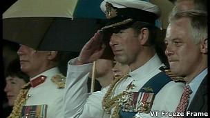 查尔斯王子和彭定康在香港政权交接仪式上