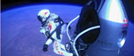 Daredevil Felix Baumgartner prepares to make his freefall jump.