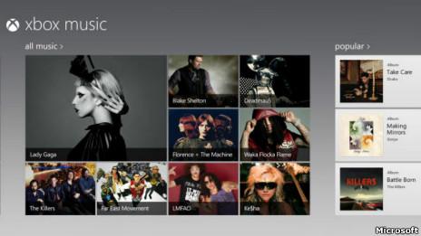 El portal de música de Microsoft Xbox