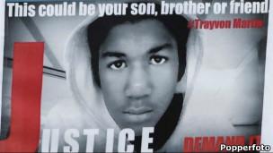 Un cartel que pide justicia para Trayvon Martin