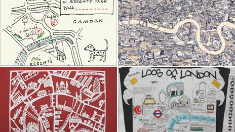 Mapas de Londres dibujados a mano